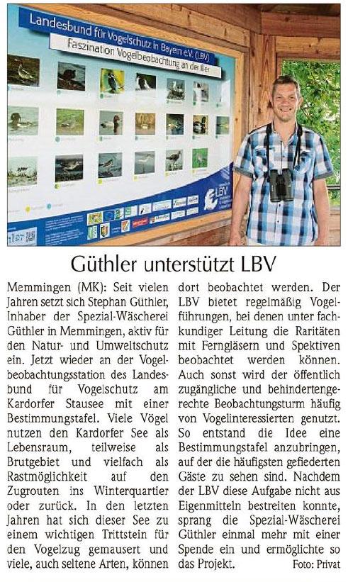 Artikel Memminger Kurier: Güthler unterstützt LBV