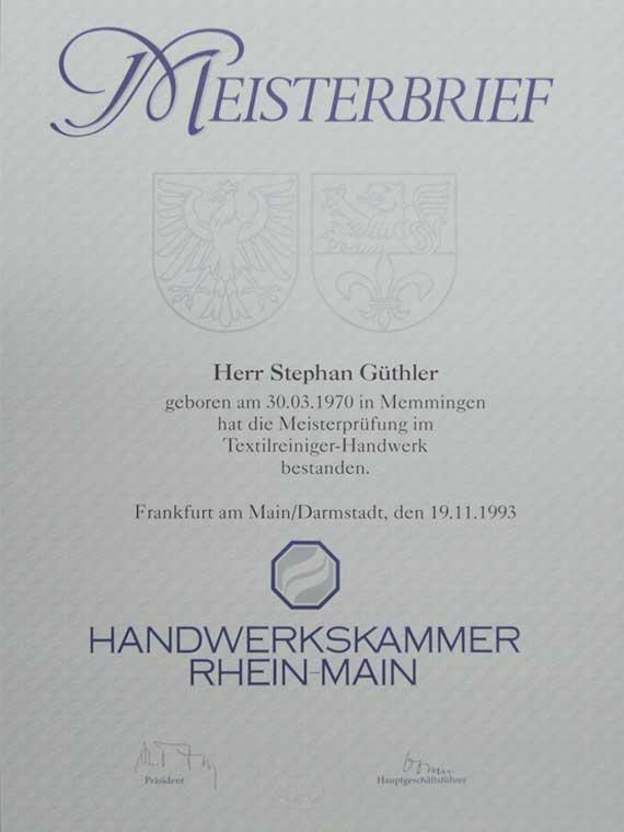 Meisterbrief Stephan Güthler